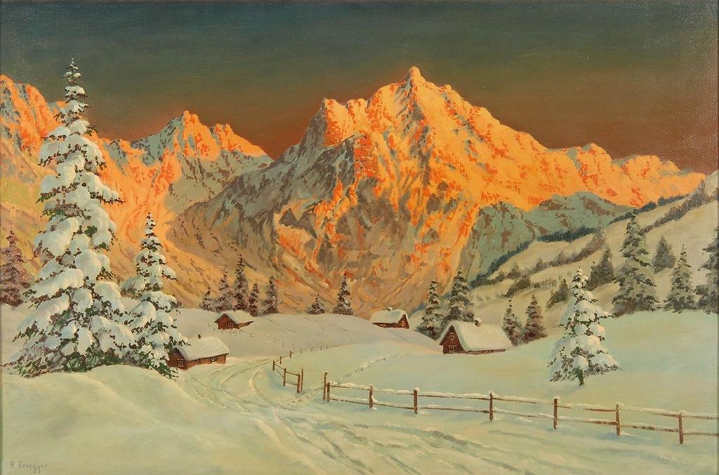 <b>«Sunset over Kitzbühel»,</b> 1953<br />Частное собрание. 30x40.Холст, масло. Самарин Н. 2012<br />Цена с багетом  - после согласования.
