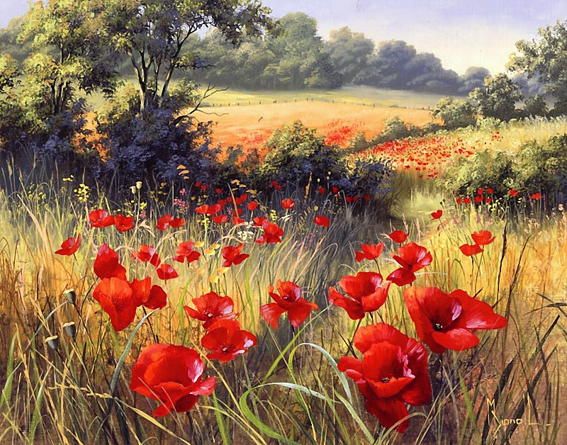 <b>�A Host of Poppies�,</b> ����� 1990-�<br />������� ��������, <b> ����� :</b>  50x40.�����, �����. <br />���� � �������  - ����� ������������. <b> �� �������� ��������� �������.</b>