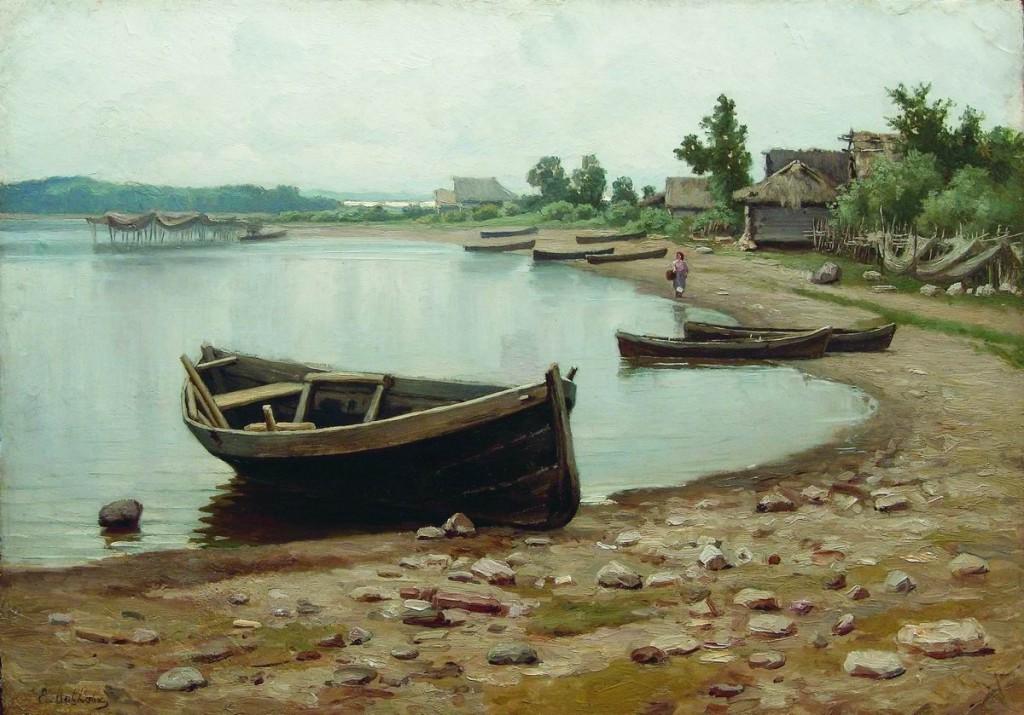 репин волжский пейзаж с лодками описание