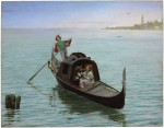 1Antonio Maria Y Fabres Costa (Spanish1854-1938) _ A Romantic Gondola Ride in Venice_  Oil on panel_ 63_5 x 81_2 cm