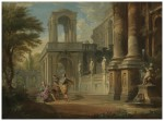 INI (PIACENZA 1691 - 1765 ROME)_ AN ARCHITECTURAL CAPRICCIO WITH TWO SOLDIERS ADDRESSING A YOUNG MAN, FIGURES ON A BALCONY BEYOND_ Oil on canvas_73 by 98 cm