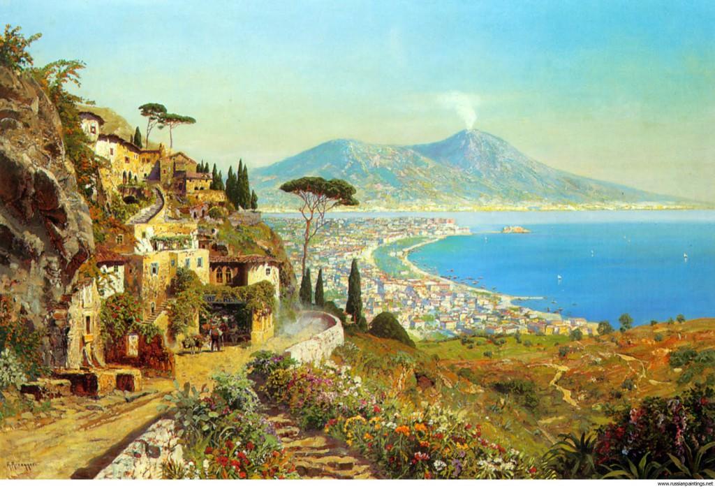 <b>«The Bay of Naples»,</b> 1924<br />Галерея Академии, Венеция, 30x40.Холст, масло. Самарин Н. 2012<br />Цена с багетом  - после согласования.