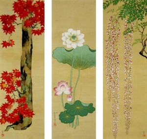 Wistaria-Lotus-and-Maple-Tree-by-Sakai-Hoitsu-620x590