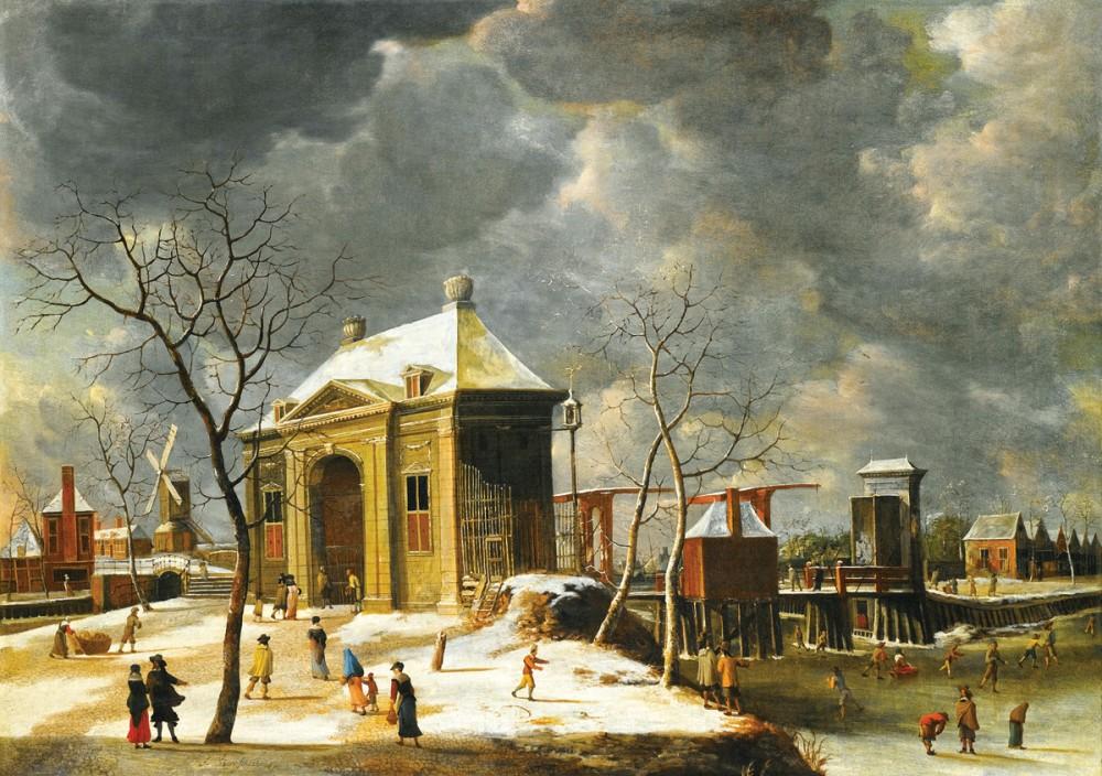 <b>«Amsterdam, view of the city gates from the northwest with skaters on a frozen canal»,</b> 1652<br />Музей Метрополитен, Нью-Йорк. 30x40.Холст, масло. Шефов В. 2012<br />Цена с багетом 12500р.<b>Стоимость постера(холст)</b>-1700р.