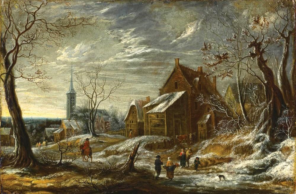 <b>«Winter landscape with people and the city away»,</b> 1656<br />Рейксмузеум,Амстердам. 36x48.Холст, масло. Шефов В. 2010<br />Цена с багетом 12500р.<b>Стоимость постера(холст)</b>-1700р.