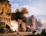 posterlux-springer_cornelis-springer_cornelis_cityview_wiith_marketstall_sun