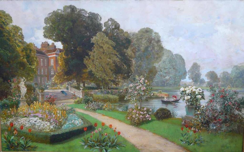 <b>«The Palace Garden»,</b> 1939<br />Музей Унтерлинден,Кольмар. 24x40.Холст, масло. Самарин Н. 2011<br />Цена с багетом  - после согласования.